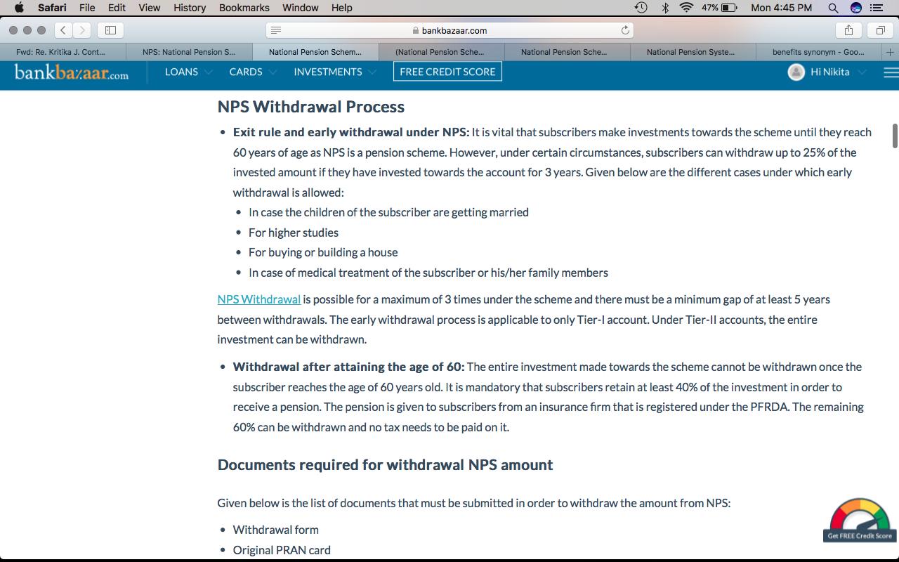 • राष्ट्रीय पेंशन प्रणाली की वापसी प्रक्रिया