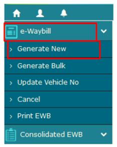 नया ई-वे बिल निर्माण करना