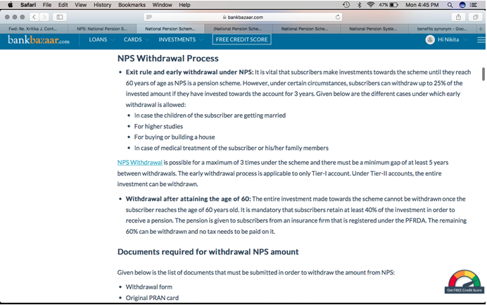 NSP Withdrawal Process