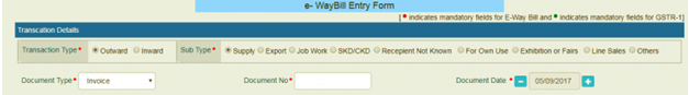 E-WayBill Entry Form